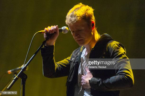 Steve Garrigan of Kodaline performs on stage at The SSE Hydro on January 31 2019 in Glasgow Scotland