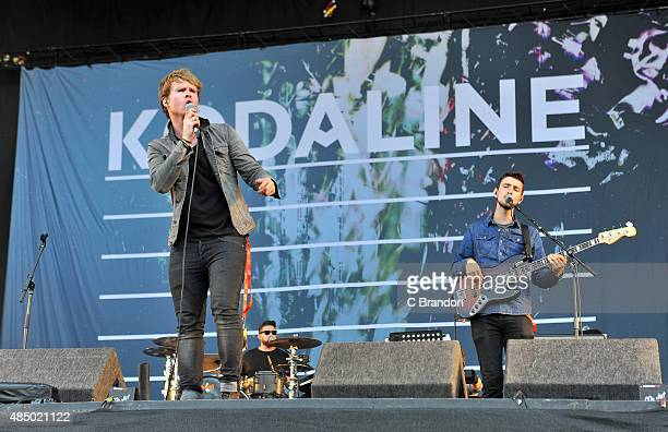 Steve Garrigan, Vinny May and Jason Boland of Kodaline perform on stage during Day 2 of the V Festival at Hylands Park on August 23, 2015 in...