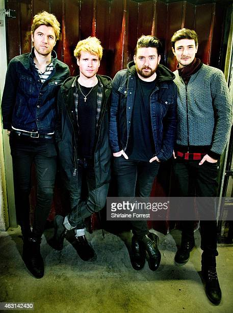 Steve Garrigan, Vinny May, Jason Boland and Mark Prendergast of Kodaline pose backstage after performing and signing copies of their new album...
