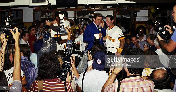 Steve Garvey of the San Diego Padres being interviewed by Tim McCarver after winning Game 5 of the 1984 National League Championship Series and...