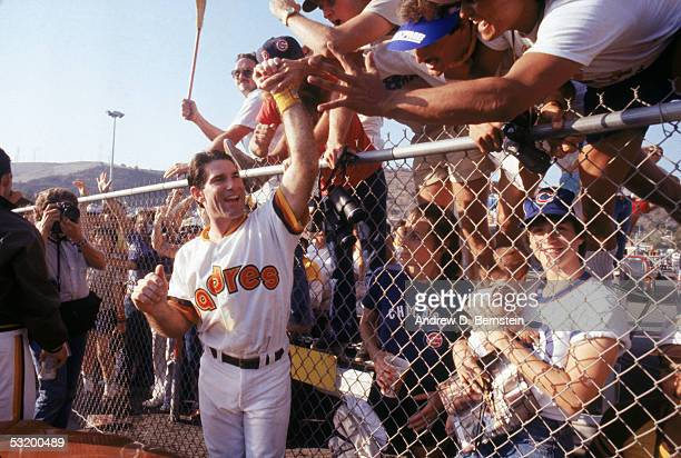 Steve Garvey of the San Diego Padres greets fans as the Padres host the Chicago Cubs for a 1984 National League Championship Series game at Jack...