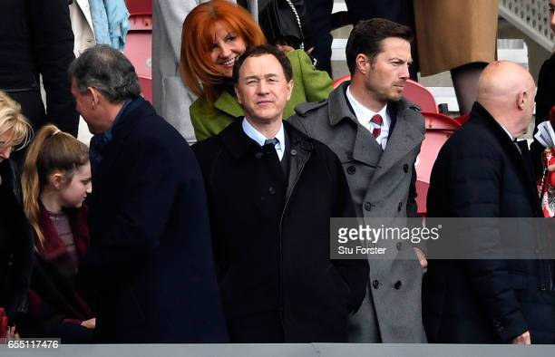 Steve Gibson, Middlesbrough chairman looks on from the stands during the Premier League match between Middlesbrough and Manchester United at...