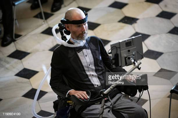Steve Gleason an amyotrophic lateral sclerosis advocate arrives to be honored during a Congressional Gold Medal ceremony at Statuary Hall in...