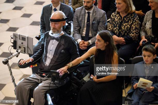 Steve Gleason left and his wife Michel Varisco Gleason attend the Congressional Gold Medal Ceremony in honor of Steve Gleason on Wednesday Jan 15 2020
