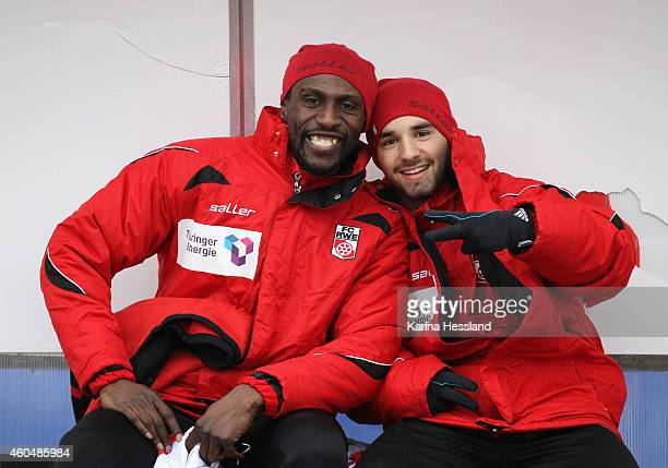 Steve Gohouri and Okan Aydin of Erfurt on the bench during the 3.Liga match between FC Rot Weiss Erfurt and FC Hansa Rostock at Steigerwaldstadion on...