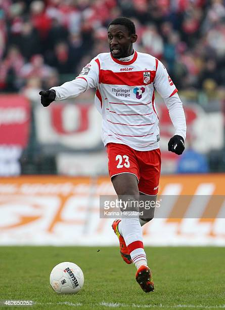 Steve Gohouri of Erfurt during the 3.Liga match between FC Rot Weiss Erfurt and FC Energie Cottbus at Steigerwaldstadion on January 31, 2015 in...