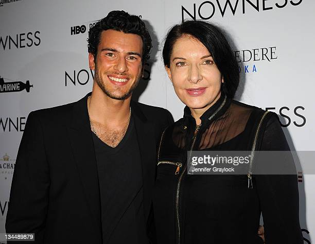 Steve Gold and Marina Abramovic attend NOWNESS presents a world premier preview of Marina Abramovic The Artist Is Present at Soho Beach House on...