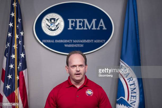Steve Goldstein National Oceanic and Atmospheric Administration liaison for the Federal Emergency Management Agency speaks during a press conference...