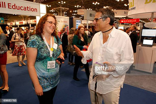 Steve Gottlieb, founder & CEO, Shindig speaks with a guest at Shindig Hosts Live Video Chats with over Fifty Authors at BookExpo America 2013 at...