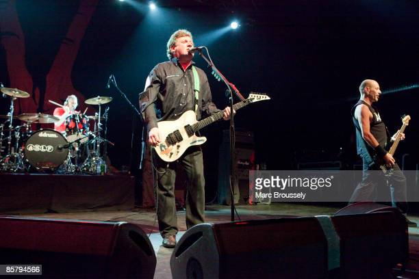 Steve Grantley Jake Burns and Ali McMordie of Stiff Little Fingers perform at the Forum on April 3 2009 in London England