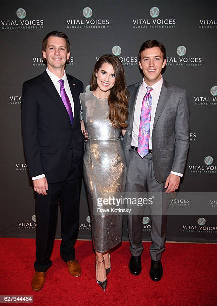 Steve Gray Allison Williams and Tyler ConfreyMaloney arrive at the Voices of Solidarity 2016 at IAC HQ on December 5 2016 in New York City