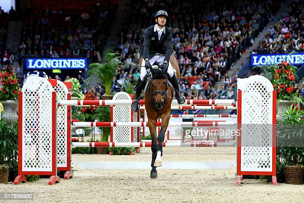 Steve Guerdat of Switzerland rides Corbinian during the Longines FEI World Cup Final Jumping at Scandinavium on March 28 2016 in Gothenburg Sweden