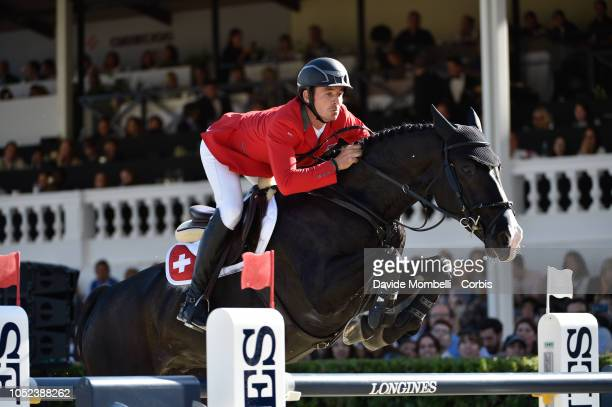 Steve Guerdat of Switzerland riding Alamo during Longines FEI Jumping Nations Cup Final Competition on October 7 2018 in Barcelona Spain