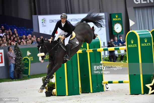 Steve Guerdat of Switzerland riding Alamo on his way to winning the Rolex IJRC Top 10 final at Palexpo on December 7, 2018 in Geneva, Switzerland.