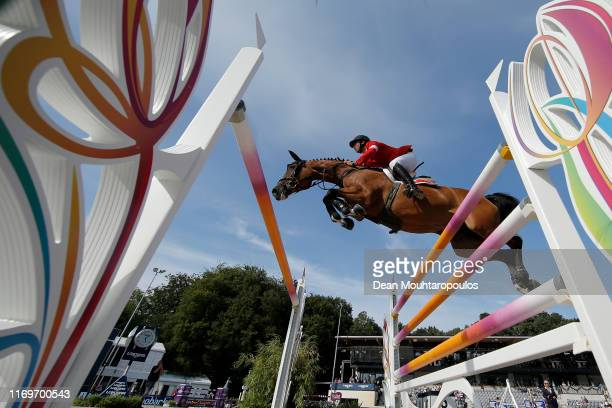 Steve Guerdat of Switzerland riding Albfuehren's Bianca competes during Day 3 of the Longines FEI Jumping European Championship, speed competition...