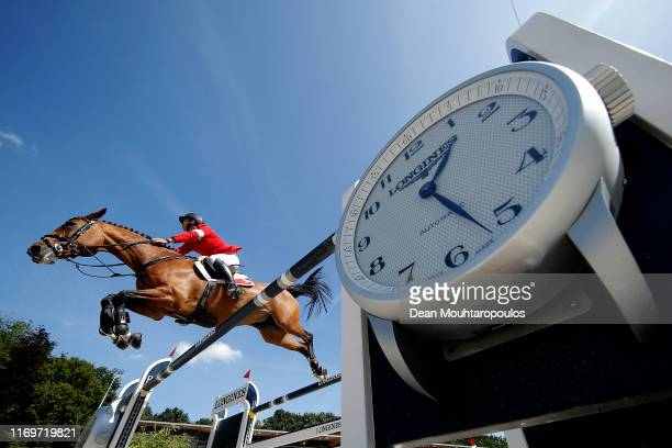 Steve Guerdat of Switzerland riding Albfuehren's Bianca competes during Day 4 of the Longines FEI Jumping European Championship 2nd part, team...