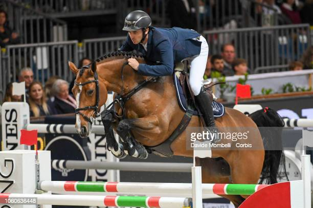 Steve Guerdat of Switzerland riding Bianca during the Longines FEI Jumping World Cup Verona 2018 CSI5*W on October 28 2018 in Verona Italy
