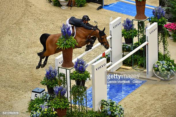 Steve Guerdat of Switzerland riding Corbinian to victory in the Longines FEI World Cup Jumping Final event of the Gothenburg Horse Show at...