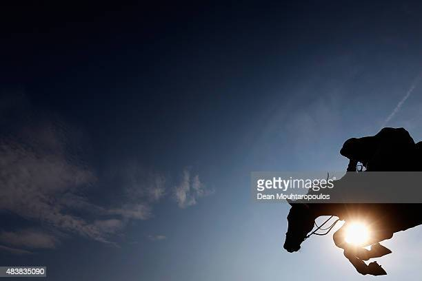 Steve Guerdat of Switzerland riding Kavalier competes in the Class 02 CSI5* 150/155m Against the Clock with JumpOff during the Longines Global...