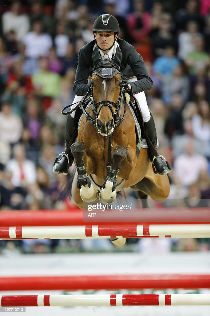 Steve Guerdat, Switzerland, rides Nino des Buissonnets to second place in the Rolex FEI World Cup Jumping final on April 28, 2013 during the Gothenburg Horse Show in Scandinavium.