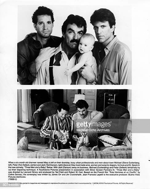 Steve Guttenberg Tom Selleck and Ted Danson pose for the movie Steve Guttenberg and Tom Selleck learn how to change a diaper in a scene from the...
