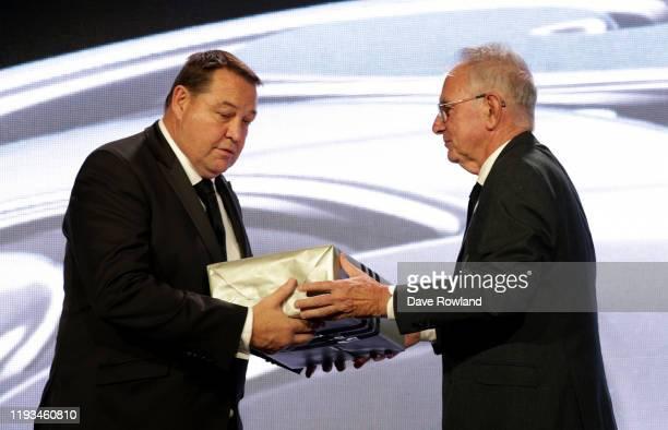 Steve Hansen All Blacks Head Coach receives a special award from Brett Impey New Zealand Rugby Chairman during the New Zealand Rugby Awards at the...