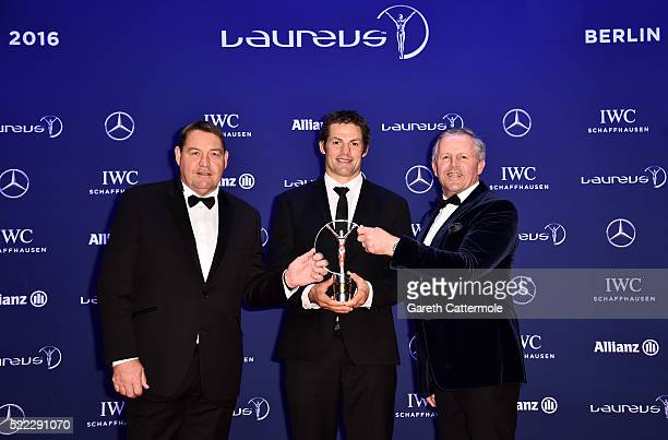 Steve Hansen coach of the All Blacks with All Blacks Captain Richie McCaw on behalf of the All Blacks rugby team and Laureus World Sports Academy...
