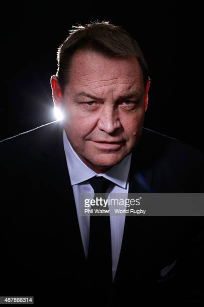 Steve Hansen, coach of the New Zealand All Blacks poses for a portrait during the New Zealand All Blacks Rugby World Cup 2015 squad photo call in...