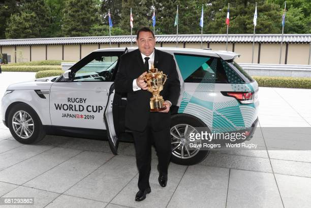 Steve Hansen, Head Coach of New Zealand arrives to hand over The William Webb Ellis Cup during the Rugby World Cup 2019 Pool Draw at the Kyoto State...