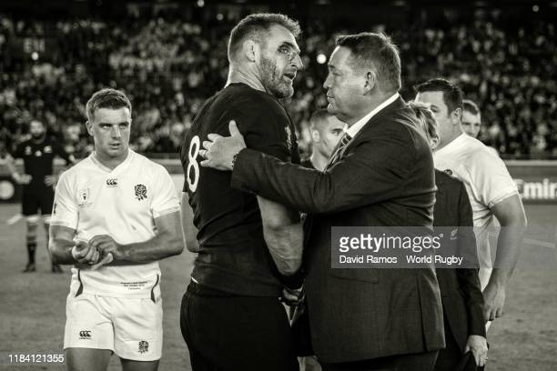 Steve Hansen, Head Coach of New Zealand consoles New Zealand's Kieran Read after the Rugby World Cup 2019 Semi-Final match between England and New...