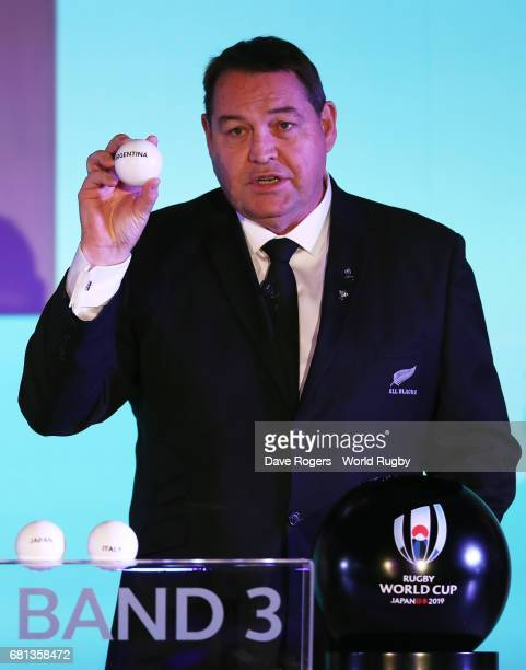 Steve Hansen Head Coach of New Zealand draws Argentina during the Rugby World Cup 2019 Pool Draw at the Kyoto State Guest House on May 10 2017 in...