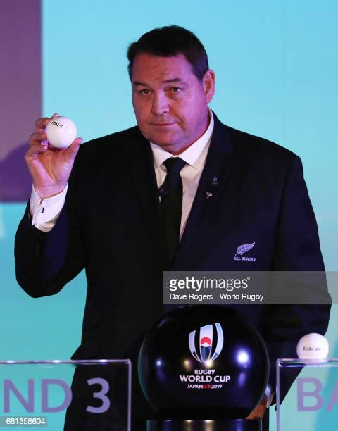 Steve Hansen Head Coach of New Zealand draws Italy during the Rugby World Cup 2019 Pool Draw at the Kyoto State Guest House on May 10 2017 in Kyoto...