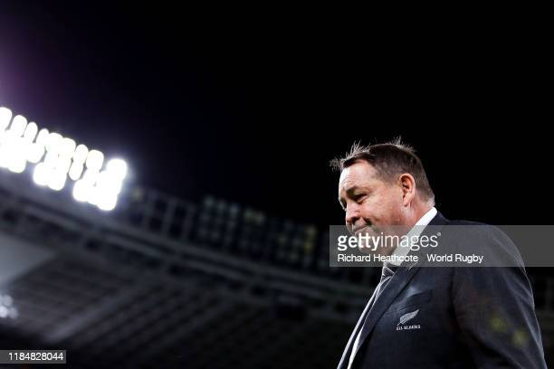 Steve Hansen, Head Coach of New Zealand looks on after his team's victory and his final game as Head Coach of New Zealand in the Rugby World Cup 2019...