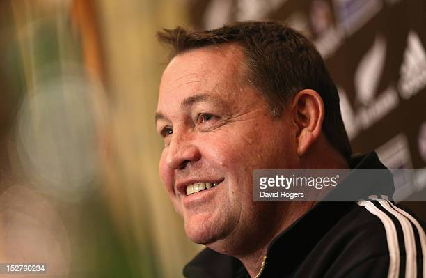 Steve Hansen the All Black head coach faces the media during a conference held at the team hotel on September 25 2012 in Buenos Aires Argentina