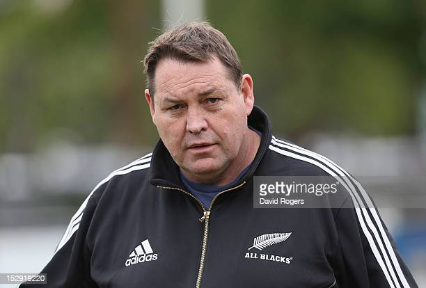 Steve Hansen the All Blacks head coach looks on during the New Zealand All Blacks captain's run at Centro Naval on September 28 2012 in Buenos Aires...