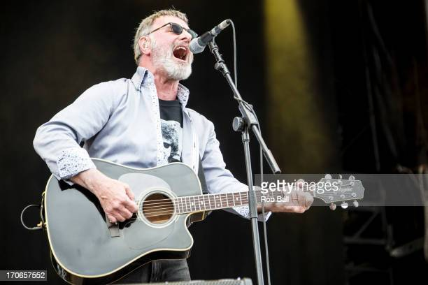 Steve Harley from Conkney Rebel performs on the Main Stage during day 4 of the Isle of Wight Festival at Seaclose Park on June 16 2013 in Newport...