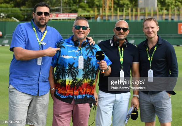 Steve Harmison, Darren Gough, Mark Butcher and Gareth Batty of TalkSport pose before Day One of the Second Test between England and South Africa on...