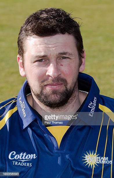Steve Harmison of Durham CCC wears the Yorkshire Bank 40 kit during a preseason photocall at The Riverside on April 3 2013 in ChesterleStreet England