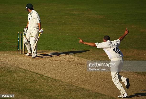 Steve Harmison of Durham celebrates bowling Mark ealham of Nottinghamshire to win the LV County Championship Division One during the final day of the...