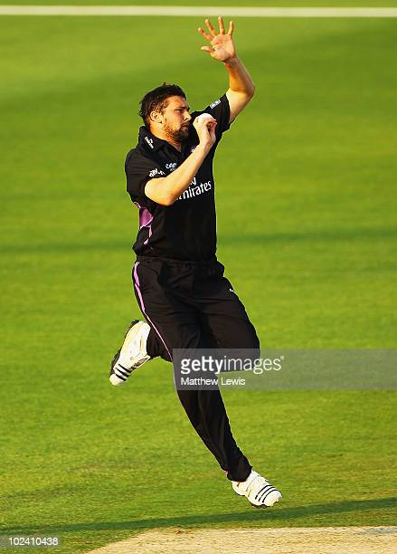 Steve Harmison of Durham in action during the Friends Provident T20 match between Nottinghamshire and Durham at Trent Bridge on June 25 2010 in...