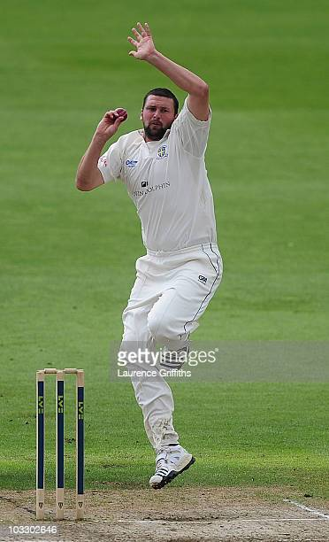 Steve Harmison of Durham in action during the LV County Championship match between Lancashire and Durham at Old Trafford on August 9 2010 in...
