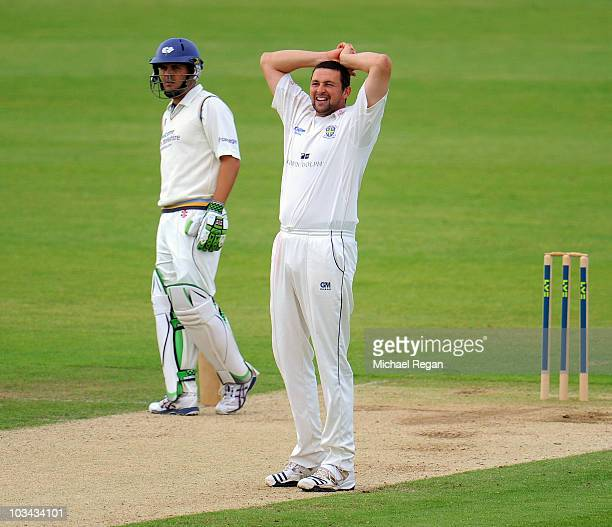 Steve Harmison of Durham looks dejected as Jacques Rudolph of Yorkshire looks on during day 3 of the LV County Championship Division One match...