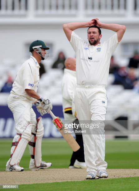 Steve Harmison of Durham shows his frustration during the LV County Championship match between Nottinghamshire and Durham at Trent Bridge on May 11...