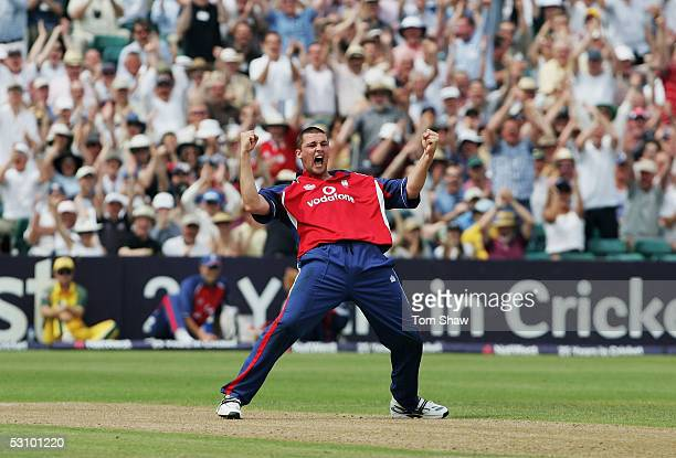 Steve Harmison of England celebrates after taking the wicket of Ricky Ponting of Australia during the NatWest Series One Day International between...