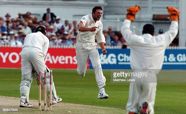 Steve Harmison of England celebrates bowling Nathan Astle of New Zealand during the first day of the third npower Test Match between England and New...