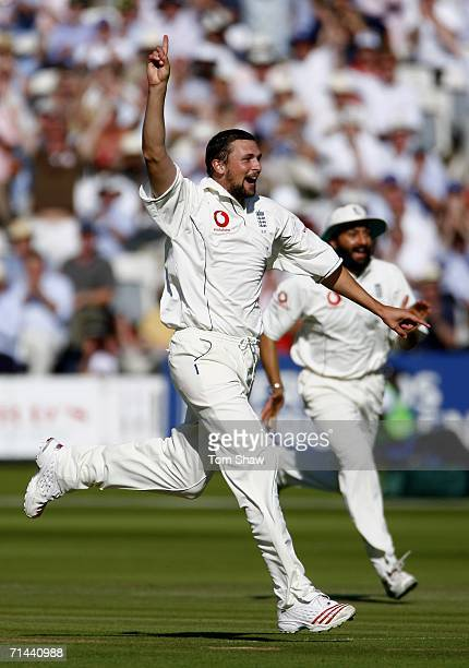 Steve Harmison of England celebrates the wicket of Faisal Iqbal of Pakistan during day two of the first npower test match between England and...