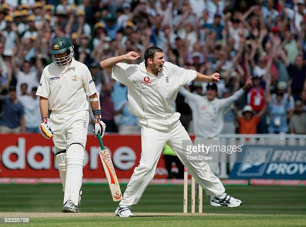 Steve Harmison of England celebrates the wicket of Michael Kasprowicz of Australia during day four of the Second npower Ashes Test match between...