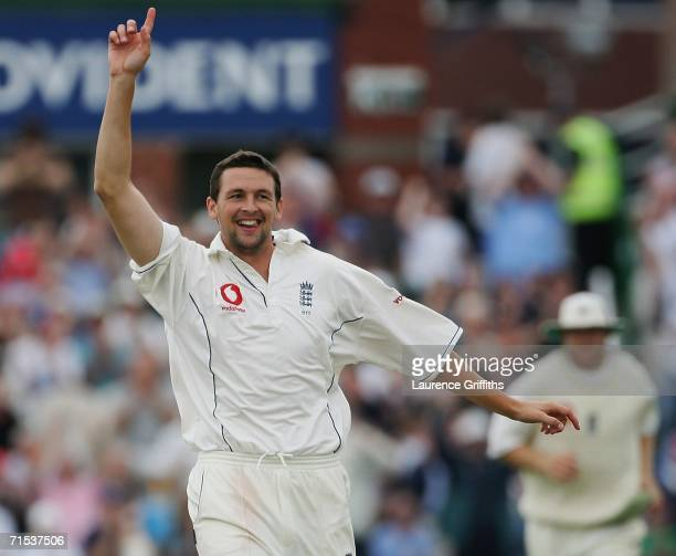 Steve Harmison of England celebrates the wicket of Shahid Afridi of Pakistan during the third days play of the Second npower Test Match between...