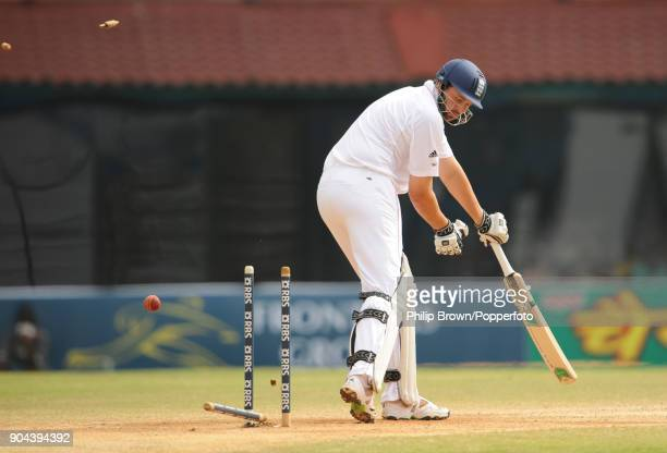 Steve Harmison of England is bowled for 1 run during the 1st Test match between India and England at MA Chidambaram Stadium Chennai India 14th...