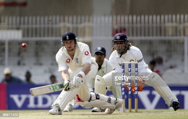 Steve Harmison of England sweeps the ball during day two of the First Test between India and England at the VCA Stadium on March 2 2006 in Nagpur...